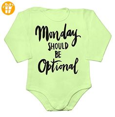 Monday Should Be Optional Baby Long Sleeve Romper Bodysuit Small - Baby bodys baby einteiler baby stampler (*Partner-Link)