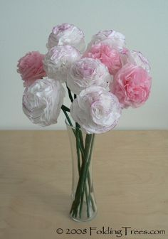 tissue paper carnations - making these