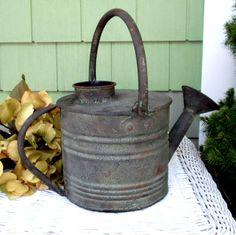 back porch summer watering can lantern Galvanized Decor, Galvanized Buckets, Galvanized Metal, Metal Watering Can, Watering Cans, Vintage Industrial, Vintage Metal, Garden Tools, Garden Crafts