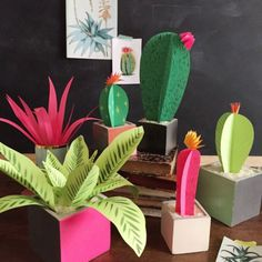 DIY Paper plants: cacti and other house plants. Love cacti but don't like its spikes then this craft if for you. Diy Fleur, Cactus Craft, Bridal Shower Activities, Chinese Money Plant, Papier Diy, Paper Plants, Cactus Flower, Cactus Plants, How To Make Paper