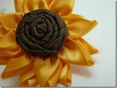Ribbon Kanzashi Flower | ... -Petalled Ribbon Flower–Sunflower by Paper Pleats and Ribbon Roses
