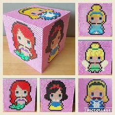 Disney girls Money box #hama #hamabeads #perler #perlerbeads #perlerart #perlercreations #disney #princesses #disneyprincess #ariel #snowwhite #tinkerbell #alice #cinderella #tink #cinders #moneybox #handmade #handmadeuk