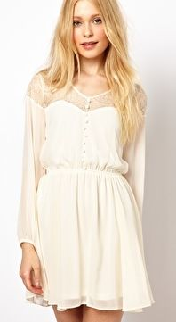 River Island Skater Dress With Lace Yoke-again too short nice tunic