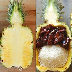 How To Serve Easy Teriyaki Chicken Inside A Pineapple .... Make with pineapple rice