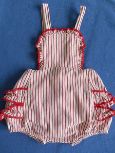 Vintage baby girl sun suit,romper,1950's, ruffles, seersucker red/ white stripe