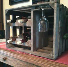 Wooden Apple Crate Wine and Glass Rack | eBay