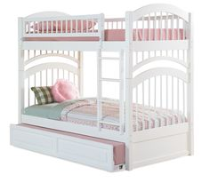 Girls bunk bed with hide away sleeper; i like the idea of storage or extra bed stored under