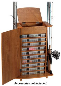 18 Rod Tackle Storage Cabinet Rod Rack Fishing Gear