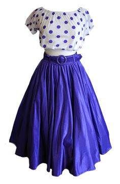 Womens 1980s Vintage 50s Style Purple Shimmer Circle Skirt Size 10