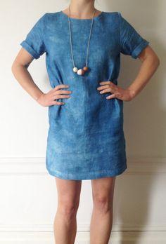 Linen Shibori Indigo Dyed Shift Dress by waywaysf on Etsy