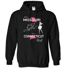 Awesome Tee MISSOURI GIRL IN CONNECTICUT WORLD Shirt; Tee