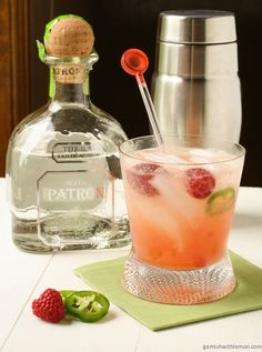Raspberry Palomas - tequila, raspberries, jalapeños, grapefruit, add diet club soda