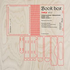 Wooden book box with sliding bolt latch. Laser cut vector model. Project plan for laser cutting