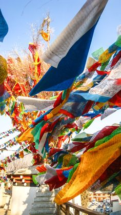 Traditional Tibetan prayer flags in Shangri-La. Yes! Shangri-La is Real: in Southwestern China, on the Border of Tibet.