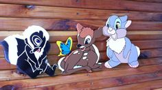 Set of 3 Wooden Bambi and Friends wall decor by Pamelaswoodcrafts, $30.00