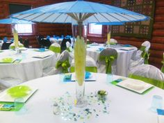 Umbrella table decorations at a Baby Boy Shower #babyshower #decorations