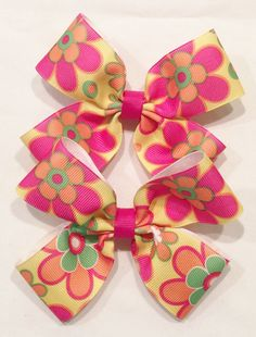 Girl Floral Hair Bows by LittleAsAccessories on Etsy