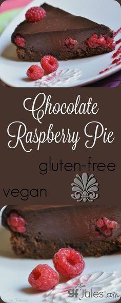Gluten Free Chocolate Raspberry Pie   gfJules.com Gluten-free and vegan
