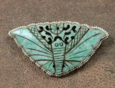 Sterling & Carved Jade Butterfly