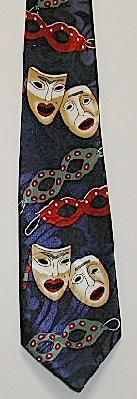 DRAMA MASKS THEATER TIE # 2 (COMES IN NAVY BLUE BACKGROUND)