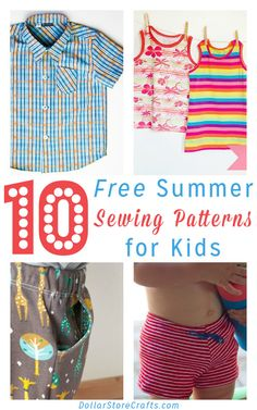 10 Free Summer Clothing Patterns for Kids