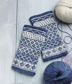 Add a touch of color to your winter ensemble with these gorgeous blue-and-white patterned arm warmers, modeled after the traditional sweaters of Vörå Finland. (Interweave)