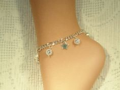 Silver Plated Anklet With A Sterling Star And by SandiesGiftCorner, $19.25