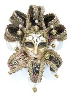 Amazon.com: Black Jollini Miniature Ceramic Venetian Masquerade Mask