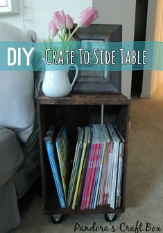Make a side table that doubles as storage from a crate in this easy upcycle DIY @savedbyloves