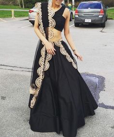 Black & gold lengha