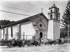 This photo taken in 1912 shows the buttresses added to the side walls. Ventura County California, California Coast, California Homes, Southern California, Farm Animal Party, Old Bathrooms, Thistlewood Farms, California Missions, Cute Chickens