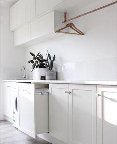 Modern Laundry Rooms, Laundry In Bathroom, Bathroom Cleaning, Bathroom Renos, Bunnings Laundry, Kaboodle Kitchen Bunnings, Feng Shui Bathroom, Wordpress, Laundry Room Inspiration