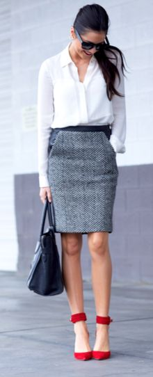 Red pumps (or blue), grey tweed skirt, white blouse and black totes