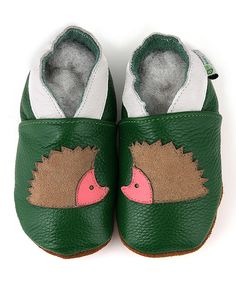 Loving this Augusta Baby Green Hedgehog Leather Booties on #zulily! #zulilyfinds