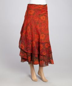 Red Floral Wrap Skirt