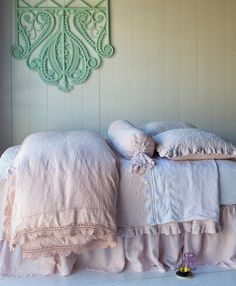 Bella Notte Bedding - Linen with Crochet Lace Duvet Cover in Perfect Peach, Amalie Coverlet in Petal, Amalie Euro Shams in Petal, Olivia Bolster in Petal over Linen Bolster in Perfect Peach, Linen with Crochet Lace Flat Sheet in White, Linen Fitted Sheet in White, Linen Dust Ruffle in Petal