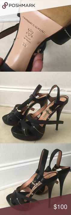 Gianmarco Lorenzi Black Stiletto Heel Sandals SZ9 Gianmarco Lorenzi Black Stiletto Sandals  Size 9 Pre-owned, please notice little scratches on each heel (easily fixable)  High quality leather, metal details  Made in Italy gianmarco Lorenzi Shoes Heels