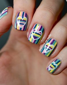 Colorful striped heart nails