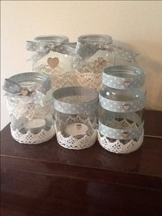 Jam jar tea light holders Jam Jar Crafts, Crafts With Glass Jars, Bottle Crafts, Mason Jars, Bottles And Jars, Candle Jars, Altered Bottles, Decorated Jars, Jar Gifts
