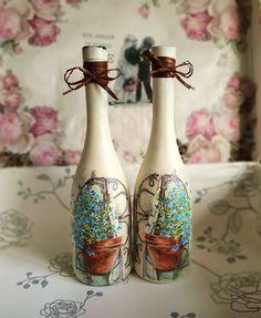 Bottle Art, Bottle Crafts, Handmade Home, Decoupage, Diy, Home Decor, Bottles, Decoration Home, Bricolage