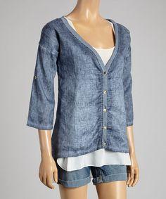 Look at this #zulilyfind! Denim Tab-Sleeve Linen Button-Up Tunic & White Tank by Aziza #zulilyfinds