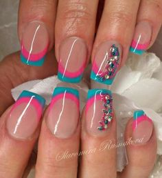 so cute! nails   art   tips   love   pink nails   blue nails by elsie