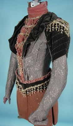 1900 Victorian Bodice of Silver Greenish Gray Brocade with Deep Green and Rose Colored Velvet and Beaded Trim