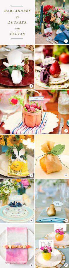Marcadores de lugares com frutas, Decoração com frutas, Mesa p