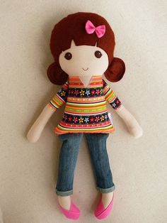 Fabric Doll Rag Doll Brown Haired Girl in Brightly por rovingovine