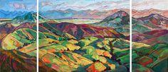 San Luis Obispo triptych oil painting by California painter Erin Hanson