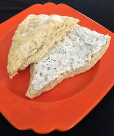 Light & fluffy savory scones - top them with garlic & herb goat cheese
