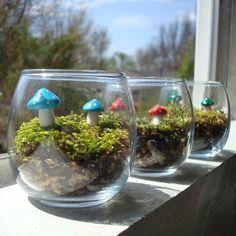 Mushroom Garden Terrarium Maintenance Free by Hollyrocks on Etsy Mini Terrarium, Garden Terrarium, Succulent Terrarium, Glass Garden, Enchanted Forest Nursery, Minis, Garden Whimsy, Garden Art, Growing Mushrooms