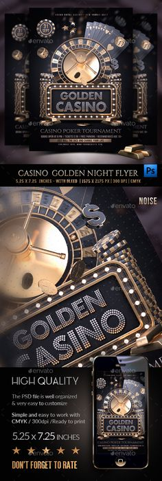 Buy Casino Golden Night Template by Rembassio on GraphicRiver. Casino Golden Night Template Made entirely of models! No cropping of pictures and glaze edges. Casino Theme Parties, Casino Party, Casino Games, Poster Art, Design Poster, Gig Poster, Poster Designs, Graphic Design, Casino Logo