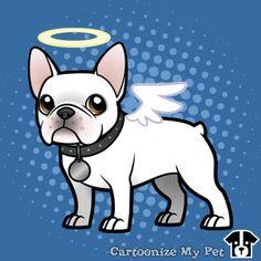 White angel Frenchie Cartoon